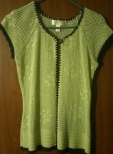 Vtg Crochet Vest made in Guatemala, Chartreuse (St. Pat'S Day!) & Brown, Euc