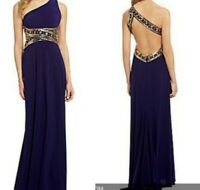 NEW Betsy & Adam Gold and Purple Formal Dress. Size 14.