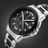 SKMEI Mens Luxury Stainless Steel Waterproof Chrono Business Quartz Wrist Watch