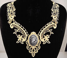 necklace 18k gold p metal lace antique black cameo vintage victorian style FIOJ