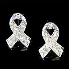 Clear w Swarovski Crystal Lung Cancer Awareness Ribbon Post Pierced Earrings NEW