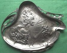 1900 WMF? Art Nouveau Maiden Whiplash Pewter Card Tray