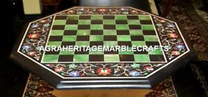 """24"""" Attractive Marble Garden Chess Play Table Top Marquetry Inlay Decor H4593"""