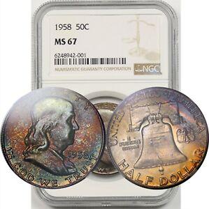 1958 50C NGC MS 67 (Toned) Franklin Half Dollar