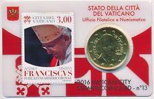 VATICAN TIMBRE & COINCARD 2016 numéro 13 Pape François 50 CT timbre-poste