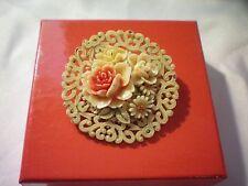 Vintage Celluloid Plastic Floral Brooch C Clasp