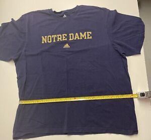 adidas Notre Dame t shirt, XL, Navy blue 100% cotton w/ gold lettering