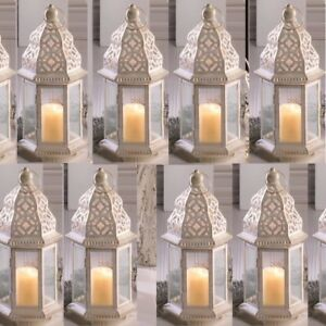 """Lot 10 Sublime 12"""" White Distressed Lantern Candle Holder Wedding Centerpieces"""