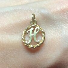 NEW 9ct Yellow Gold Solid Initial H Pendant 375 Letter Charm 9K Free Post Option