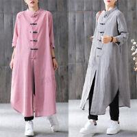 ZANZEA Womens Oversized Winter Plaid Buttons Long Sleeve Baggy Midi Shirt Dress