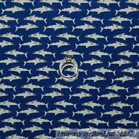 BonEful Fabric FQ Cotton Quilt Blue White Shark Beach Ocean Fish Seafood Stripe