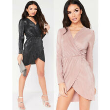 Womens Pleated Wrap Over Foil Bodycon Evening Party Cocktail Short Mini Dress UK