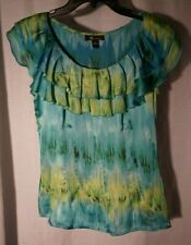 AB Studio blue yellow mix S ladies blouse w strap tank top lining side zip