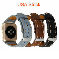 US Genuine Leather Strap for Apple Watch Series 6 5 4 3 38mm 40mm 42mm 44mm Band