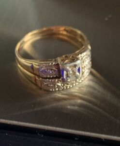 c 1890 Antique 14K Gold w/ Diamonds Womens Wedding Rings ~ 8 ~ 4.84g