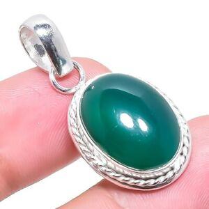 "Green Onyx Gemstone Ethnic Handmade Jewelry Pendant 1.4"" RP2416"