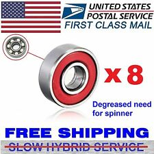 Lot of 8 White Ceramic Skateboard Hybrid Bearings 608-2rs 8x22x7 608RS Red Seal