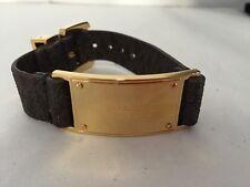 Michael Kors Mkj3854 Gold Plaque Mk Brown Saffiano Logo Leather Belt Bracelet