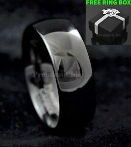Black Mirror Finish Tungsten Carbide Ring Men's Wedding Engagement Band Ring