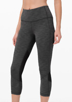 """Lululemon Pace Rival High Rise Crop 22"""" Heathered Black FREE SHIPPING"""