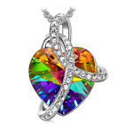 Silver Angel Wing Necklace Heart Rhinestone Crystal Chain Pendant Jewelry New