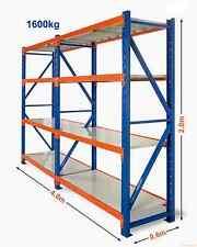 4M x 2M x 0.6M Heavy Duty Warehouse Garage Metal Steel Storage Shelving Racking