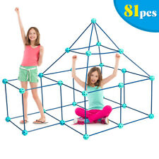 Kids Crazy Construction Fort Building Kit 81 Pieces Indoor & Outdoor Gift Toys