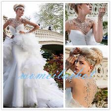 2018 New White/Ivory Mermaid Wedding Dress Bridal Gown Custom Size 2 4 6 8 10 12