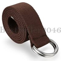 Mens Canvas Fabric Web Belt Double D-Ring Military Style Buckle with Metal Tip