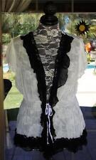 Pretty Angel Black & White Lacy Silk Blend Sheer Overshirt Blouse Sz. L
