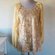 American Glamour Badgley Mischka Gold Sequin Blouse Open Sleeve Sheer Bling Sz M