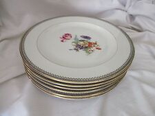 Lexington 6 dinner plates Concord black Greek key gold rim floral center USA