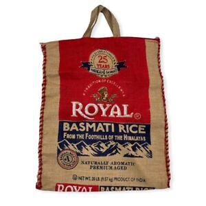 """BURLAP ROYAL BASMATI RICE SAC SHOPPER TOTE BAG, ZIP CLOSE, HANDLES,15X18"""" RUSTIC"""