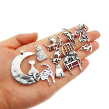 12 pcs Assorted Mix Silver Metal Cats Charms DIY Necklaces Pendants Findings
