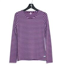 Gap Fit - L -  NWOT - Tonal Purple Striped Crew Athletic Knit Top - Thumb Slits