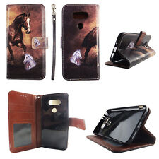 Flip Wallet Case Amber Horse for LG G5 G 5 LS992 Cash id Slot Stand Cover