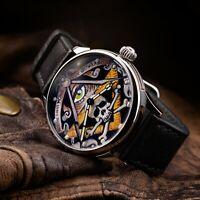 Vintage USSR Watches Masonic Lodge Mechanical Hand Made Luxury Watch Black Strap