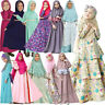 Muslim Kid Girls Prayer Long Maxi Dress Hijab Set Kaftan Abaya Jilbab Clothes