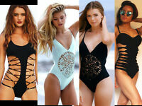 Womens Knitted Solid Hollow Out One Piece Swimwear Beach Bathing Padded Bodysuit