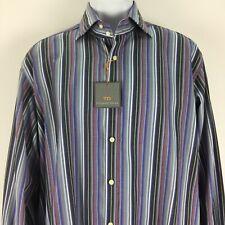 Thomas Dean Large Gray Flip Cuff Striped Shirt Mens Button Up 100% Cotton NEW