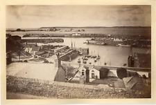 J.V. Royaume-Uni, Jersey, St. Helier Harbour  vintage albumen print.  Tirage a