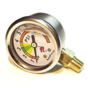 Fuel pressure gauge 0-10PSI for carburetor Weber,Dellorto,Solex and Facet pump