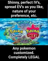 Pokemon Sword and Shield 6IV, Any Custom Pokemon you want 100% Competitive Legal