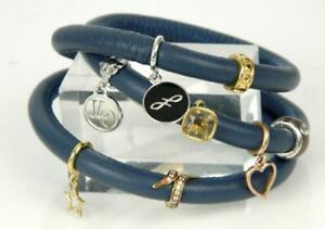 "ENDLESS Blue Leather Triple Wrap Sterling Silver 8 Charm Bracelet *6.5"""