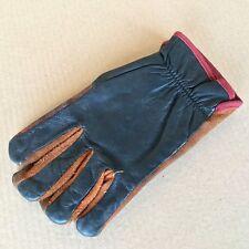 Vintage Gloves. Handschuhe. Medium M, Glattleder schwarz, Wildleder braun