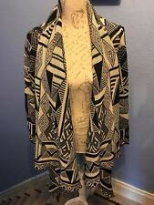 Pink Boutique Aztec tribal waterfall black and cream cardigan size S ladies