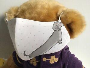 UNIQUE DACHSHUND SAUSAGE DOG ADULTS SIZE WASHABLE & REUSABLE COTTON FACE MASK