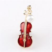 Pearl Rhinestone Violin Shape Jewelry Clothes Accessories Lapel Pin Brooch Pin