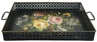 Vintage Pilgrim Art Toleware Floral Pierced Tea Tray Serving Caddy 19""
