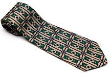 Neck Tie GREEN BURGUNDY Necktie Geoffrey Beene Classic  100% Silk Made USA